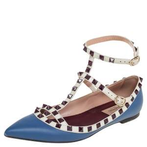 Valentino Blue/White Leather Rockstud Ankle Strap Ballet Flats Size 37.5