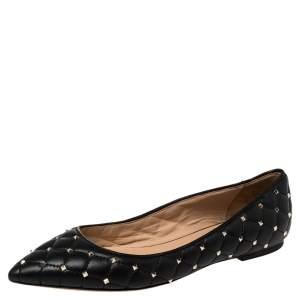 Valentino Black Leather Rockstud Embellished Pointed Toe Ballet Flats Size 38