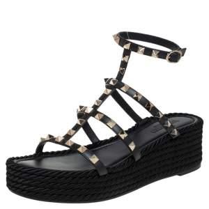 Valentino Black Leather Rockstud Wedge Sandals Size 39