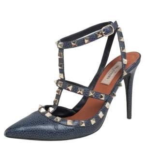 Valentino Navy Blue Leather Rockstud Pointed Toe Ankle Strap Sandals Size 38