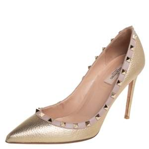 Valentino Metallic Gold/Beige Leather Rockstud Pointed Toe Pumps Size 40.5