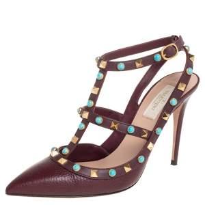Valentino Burgundy Leather Rolling Rockstud Ankle Strap Sandals Size 39