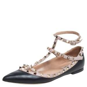 Valentino Beige/Black Leather Rockstud Ankle Strap Flats Size 38