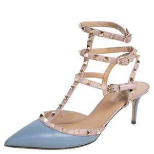 Valentino Blue/Pink Patent Leather Rockstud Pointed Toe Sandals Size 41.5