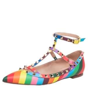 حذاء فلات باليه فالنتينو روكستد جلد متعدد الألوان مقاس 39