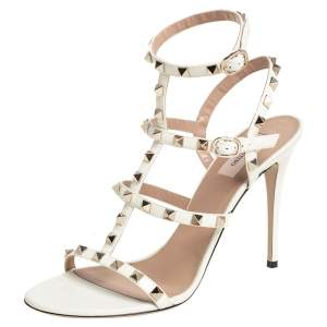 Valentino White Patent Leather Rockstud Caged Ankle Strap Sandals Size 41