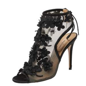 Valentino Black Mesh And Satin Trims Flower Embellished Open Toe Ankle Booties Size 37