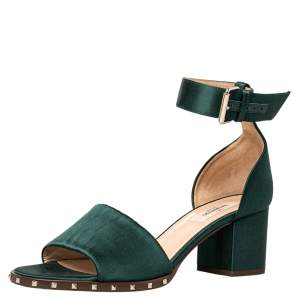 Valentino Green Satin Studded Block Heel Ankle Strap Sandals Size 38.5
