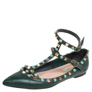 Valentino Green Leather Rolling Rockstud Ankle Strap Ballet Flats Size 38.5