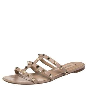 Valentino Nude Pink Leather Rockstud Sandals Size 37.5