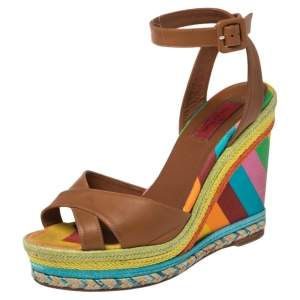 Valentino Multicolor Leather and Canvas 1973 Espadrille Wedge Ankle Strap Sandals Size 38