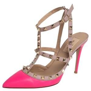 Valentino Pink/Beige Leather Rockstud Sandals Size 38.5