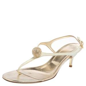Valentino White Leather Ball Crystal Embellished T-Strap Sandals Size 36