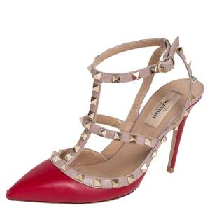 Valentino Beige/Red Leather Rockstud Ankle Strap Sandals Size 37.5