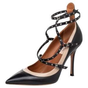 Valentino Black Leather Love Latch Detail Eyelet Embellished Pumps Size 38