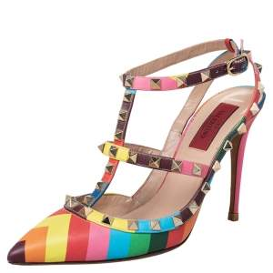 Valentino Multicolor Chevron Print Leather Rockstud Ankle Strap Pointed Toe Sandals Size 38