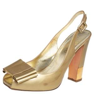 Valentino Gold Patent Leather Bow Slingback Peep Toe Sandals Size 38.5