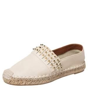Valentino Cream Leather Studded Espadrilles Flats Size 38
