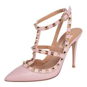 Valentino Pink Leather Rockstud Caged Sandals Size 37