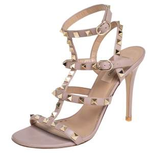 Valentino Pale Pink Leather Rockstud Caged Sandals Size 37.5