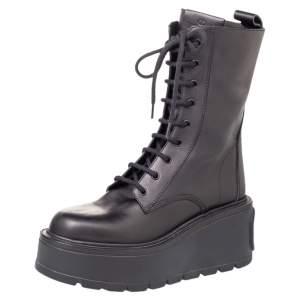 Valentino Black Leather Uniqueform Mid Calf Platform Boots Size 39