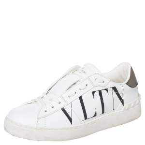 Valentino White Leather Rockstud Low Top Sneakers Size 38