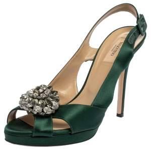 Valentino Green Satin Crystal Embellished Platform Slingback Sandals Size 40