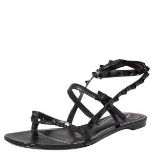 Valentino Black Leather Rockstud Ankle Strap Flair Flat Sandals Size 39.5