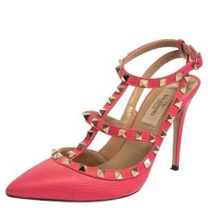Valentino Pink Leather Rockstud Ankle Strap Pumps Size 36.5