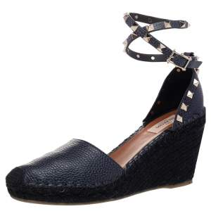 Valentino Black Leather Rockstud Espadrille Wedge Sandals Size 39