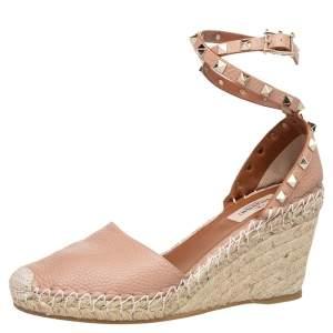 Valentino Pink Leather Rockstud Espadrille Wedge Sandals Size 38