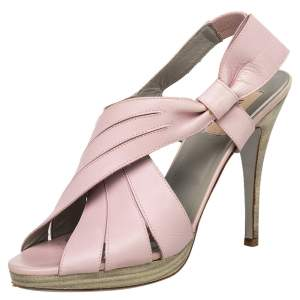 Valentino Pink Leather Bow Peep Toe Slingback Sandals Size 39.5