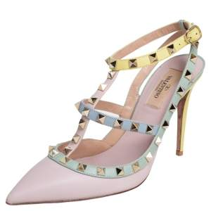 Valentino Multicolor Leather Rockstud Caged Sandals Size 38