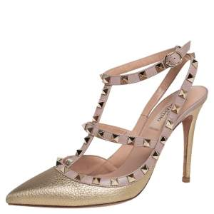 Valentino Gold/Beige Leather Rockstud Pointed Toe Sandals Size 39
