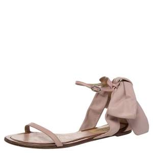 Valentino Nude Pink Leather Bow Flat Sandals Size 38