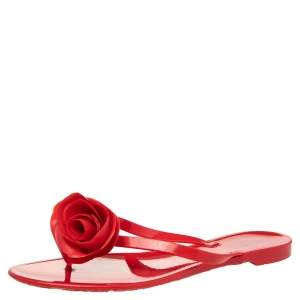 Valentino Red PVC Couture Rose Thong Flat Sandals Size 41