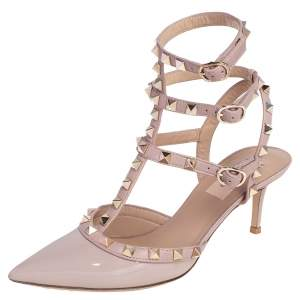حذاء كعب عالي فالنتينو روكستد قفصي جلد بيج لامع بمقدمة مدببة مقاس 37.5