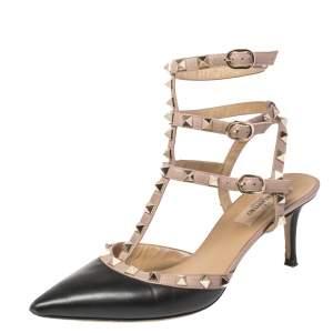 Valentino Black/Beige Leather Rockstud Ankle Strap Sandals Size 38