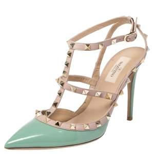 Valentino Green/Beige Leather Rockstud Pointed Toe Ankle Strap Sandals Size 39