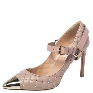Valentino Beige Quilted Leather Rockstud Spike Mary Jane Pumps Size 39.5