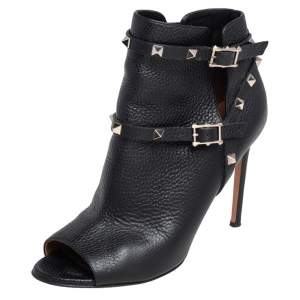 Valentino Black Leather Rockstud Open Toe Ankle Boots Size 39