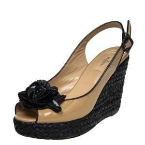 Valentino Beige Patent Leather Rose Embellished Slingback Wedge Platform Espadrille Sandals Size 38.5