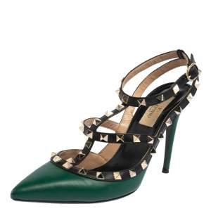 Valentino Black/Green Leather Rockstud Pointed Toe Sandals Size 38