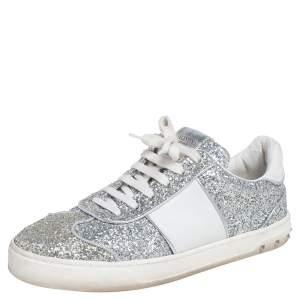 حذاء رياضى فالنتينو فلاى كرو غليتر وجلد فضي / أبيض عنق منخفض مقاس 40