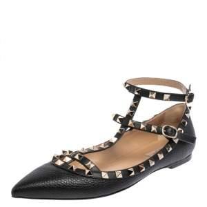 Valentino Black Leather Rockstud Ankle Strap Ballet Flats Size 40