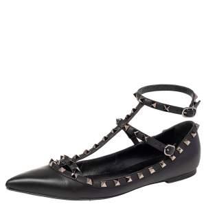 Valentino Black Leather Rockstud Caged Ballet Flats Size 40