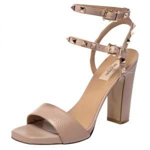 Valentino Beige Leather Rockstud Block Heel Sandals Size 39