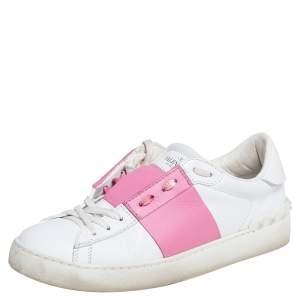 حذاء رياضي فالنتينو روكستد جلد أبيض / وردي عنق منخفض شرائط لونية مقاس 39