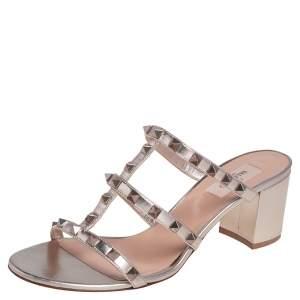 Valentino Gold Leather Rockstud Slide Block Heel Sandals Size 40