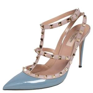 Valentino Grey/Beige Patent And Leather Rockstud Ankle Strap Pumps Size 42